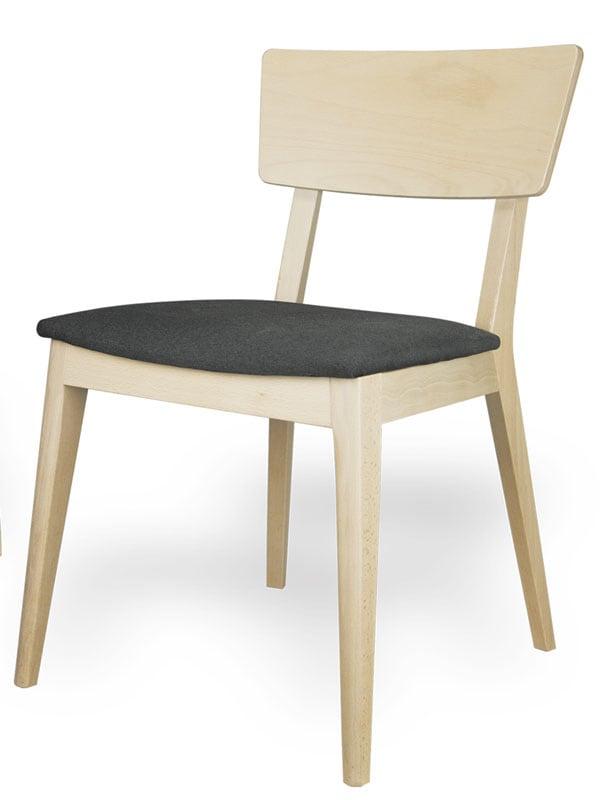 silla con respaldo chapado y asiento tapizado